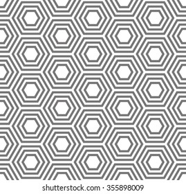 Geometric seamless pattern. Turtle shell, honeycomb. Traditional background, monochrome template.