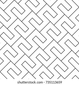 Geometric seamless pattern. Vector abstract background. Black lines pattern on white background.