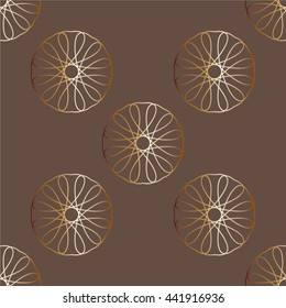 Geometric seamless pattern vector gold color texture