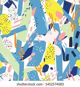 Geometric seamless pattern with vibrant chaotic abstract marks, dots, scribble, blotches. Modern backdrop. Creative vector illustration in contemporary art style for wrapping paper, fabric print.