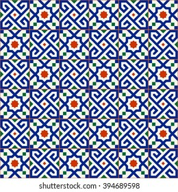 Geometric seamless  pattern  white Turkish, Moroccan, Portuguese  tiles, Azulejo, Arabic ornament. Islamic art.   Can be used for wallpaper, pattern fills, web page background,surface textures.