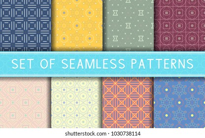 Geometric seamless patterns. Collection of colored backgrounds for textile, fabrics or wallpapers