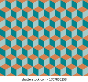 Geometric seamless patterns oranges and teals. Abstract contemporary modern trendy vector illustration.