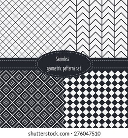 Geometric Seamless Patterns Set. Dark and light grey colors. Black and White. Monochrome backgrounds bundle pack.