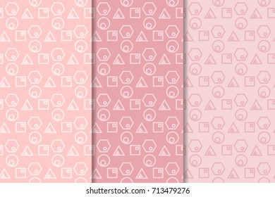 Geometric seamless patterns. Set of pale pink backgrounds for wallpapers and fabrics. Vector illustration