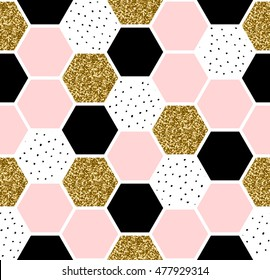 Geometric seamless repeating pattern with hexagon shapes in pastel pink, black, gold glitter and hand drawn dots texture.