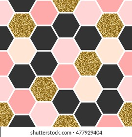 Geometric seamless repeating pattern with hexagon shapes in black, gold glitter and pastel pink.