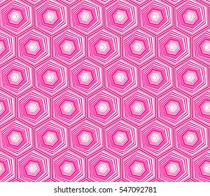 Geometric seamless repeating pattern with hexagon shapes in pastel pink and hand drawn dots texture