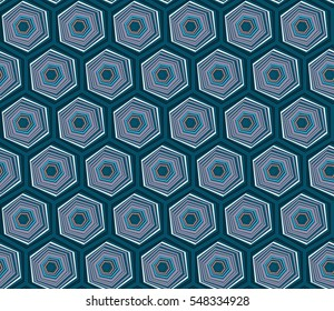 Geometric seamless repeating pattern with hexagon shapes in blue and hand drawn dots texture
