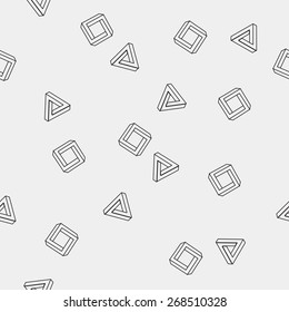 Geometric seamless simple monochrome minimalistic pattern of impossible shapes, rectangles, triangles