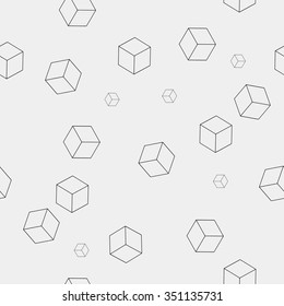 Geometric, seamless, simple, monochrome, minimalistic, pattern, of, cube, shapes