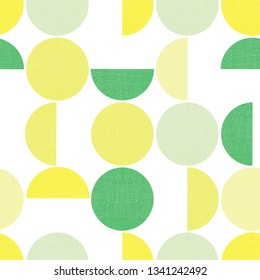 Geometric seamless vector background semicircles circles grunge texture. Abstract modern pattern green yellow lime screen print style. Trendy art for paper, textile, fabric print, decor, packaging