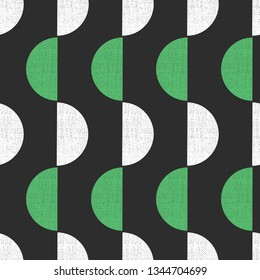 Geometric seamless vector background semicircles grunge texture retro style. Abstract pattern green white black screen print style. Trendy art for paper, textile, fabric print, decor, packaging