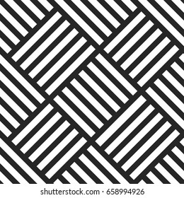 Geometric seamless vector pattern. Black and white striped background. Endless wicker texture.