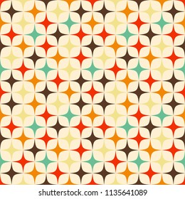 Geometric seamless vector pattern with colorful stars in retro colors