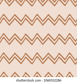 Geometric Seamless zigzag pattern made on brown iced coffee colors. Repeated background, backdrop or invitation card abstract design. Hand drawn wallpaper, package design, coffe wrap