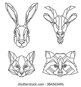 Geometric set of hare, goat, fox and raccoon vector animal heads drawn in line or triangle style, suitable for modern tattoo templates, icons or logo elements