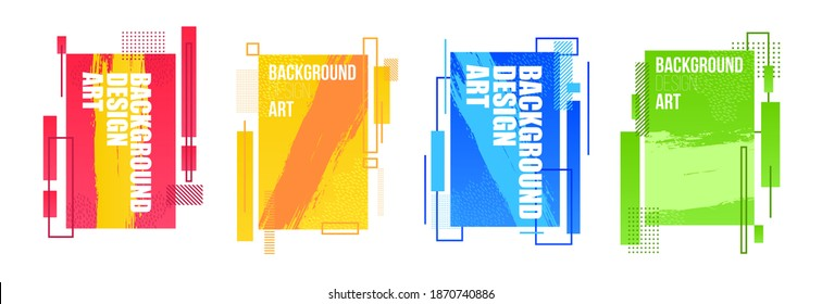 geometric set of minimalistic abstract shapes frames for text. vector design illustration of strict geometry graphics.
