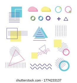 geometric shape of elements design memphis 80s 90s style abstract white background vector illustration