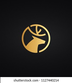 Geometric shape golden color DEER HEAD icon