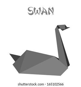 geometric shape illustration of a black origami swan