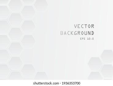 geometric shape white absctract background vector, futuristic design illustration
