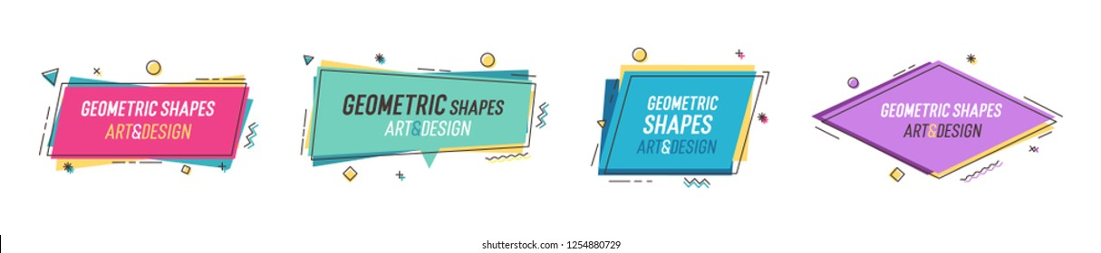 Geometric shapes with abstract elements and place for text. Vector graphic design illustrations for advertising, sales, marketing, design and art projects, posters,social media, flyers