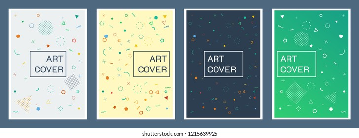 Geometric shapes abstract style. Set of covers of size a4