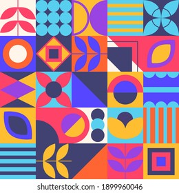 Geometric Shapes Background. Aesthetics in abstract Pattern Design. vector minimalistic figures, flowers. Mosaic Style.