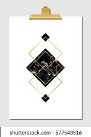 Geometric shapes in black, golden and turquoise on white paper with golden clip. Modern and stylish wall art decor, greeting card, wallpaper design.