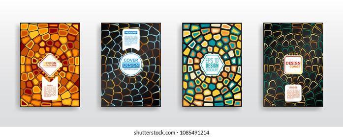 Geometric shapes brochure template layout. Colorful mosaic covers design. Surface geometric pattern gradients. Vector Illustration esp10. Voronoi texture