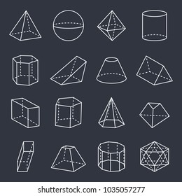 Geometric shapes collection, pyramid and cuboid, sphere and triangular prism, geometric forms as cylinder and blunted cone, vector illustration