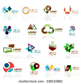 Geometric shapes company logo set, paper origami style. Vector illustration