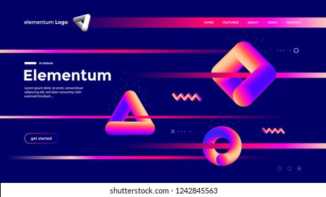 Geometric shapes composition design with gradient color. Abstract futuristic background. Landing page template.