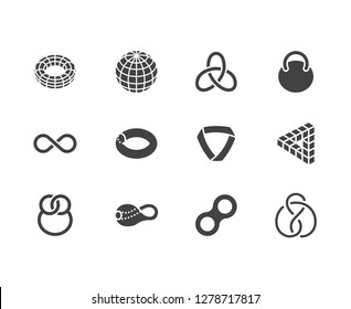 Geometric shapes flat glyph icons set. Topology figures sphere, torus, mobius strip, klein bottle vector illustrations. Signs for education, impossible object. Solid silhouette pixel perfect 64x64.