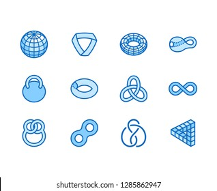Geometric shapes flat line icons set. Topology figures sphere, torus, mobius strip, klein bottle vector illustrations. Thin signs for education, impossible object. Pixel perfect 64x64. Editable Stroke