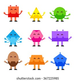 Geometric shapes funny monsters cartoon vector character design for children Education games, kindergarten. Square. Circle, Triangle, Rhombus, Oval Rectangle Trapezium. Character shapes - stock vector