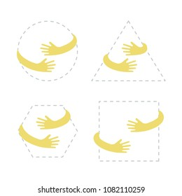 Geometric shapes with hand embrace. Logo with hug. Vector illustration