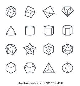 Geometric Shapes Icon Bold Stroke on White Background