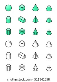 Geometric shapes in isometry vector icon set