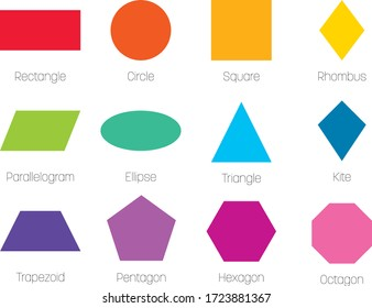 Geometric shapes with labels. Set of 12 basic shapes. Simple flat vector illustration.
