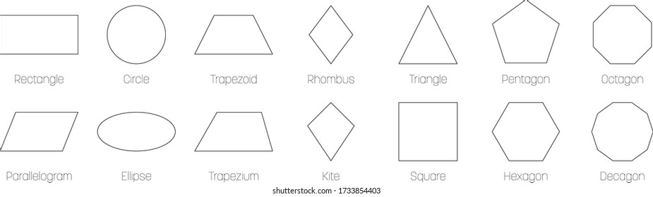 Geometric shapes with labels. Set of 14 basic shapes. Simple flat vector illustration.