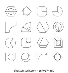Geometric shapes with mono line elements composition. Design elements for Magazine, leaflet, billboard, sale, flyer, brochure - vector