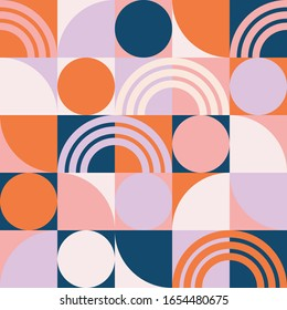 geometric shapes pattern with circles and stripes mid century modern inspired seamless pattern background