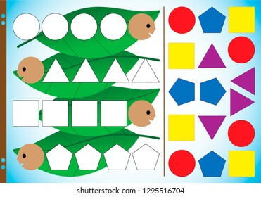 Geometric shapes in pictures for children. The task is to cut elements, assemble the tracks and glue them together. Educational puzzle game. Vector illustration. Worksheet for printing