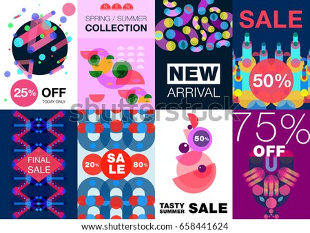 083b8ef449ff8 Geometric shapes poster banner set of eight creative backgrounds with  abstract artwork compositions and editable text