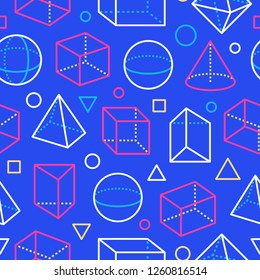 Geometric shapes seamless pattern with flat line icons. Modern abstract background geometry, math education. Mathematics figures - cube, sphere, cone, prism, blue, white color vector illustrations.
