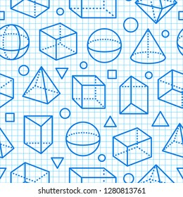 Geometric shapes seamless pattern flat line icons. Modern abstract background for geometry, math education. Mathematics figures on blue grid notebook - cube, sphere, cone, prism vector illustrations.