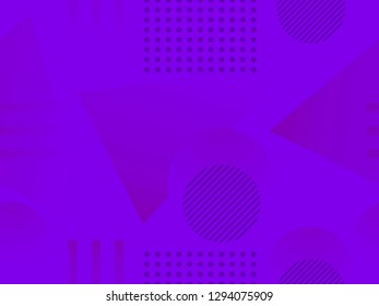 Geometric shapes seamless pattern. Zine culture abstract background. Purple color. Vector illustration