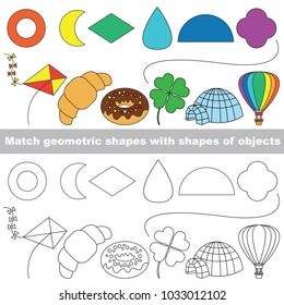 Geometric Shapes set to find the appropriate couple of objects, to compare and connect objects and their relevant pairs, the matching educational kid game with simple gaming level for preschool kids.